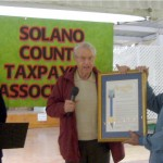 SCTA Charter members Earl Von Kaenel and Earl Campini accepted  the framed CA Legislature Joint  Resolution.       October 17, 2010.