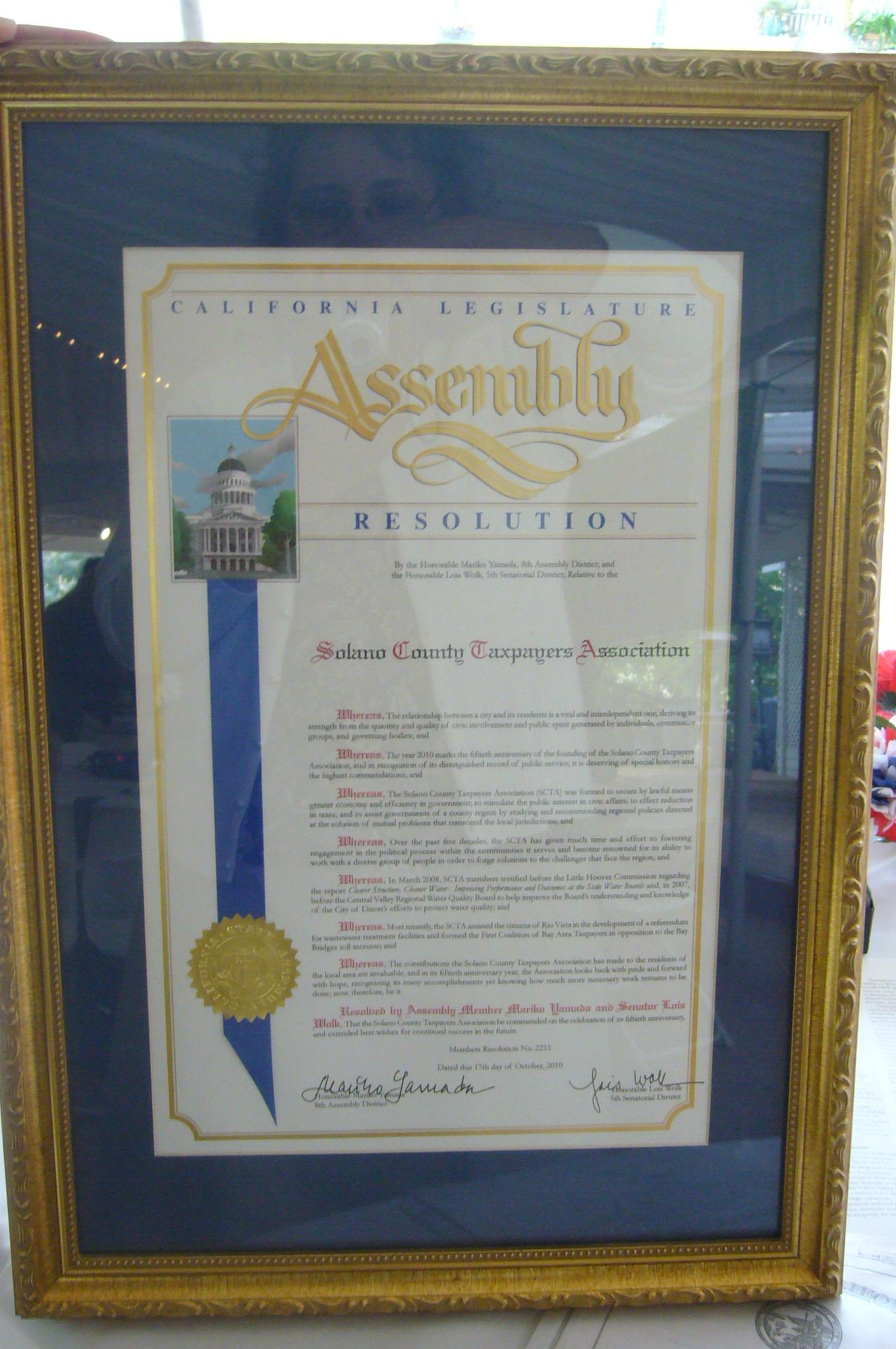 California Legislature Resolution presented to SCTA in celebration of 50 years anniversary.