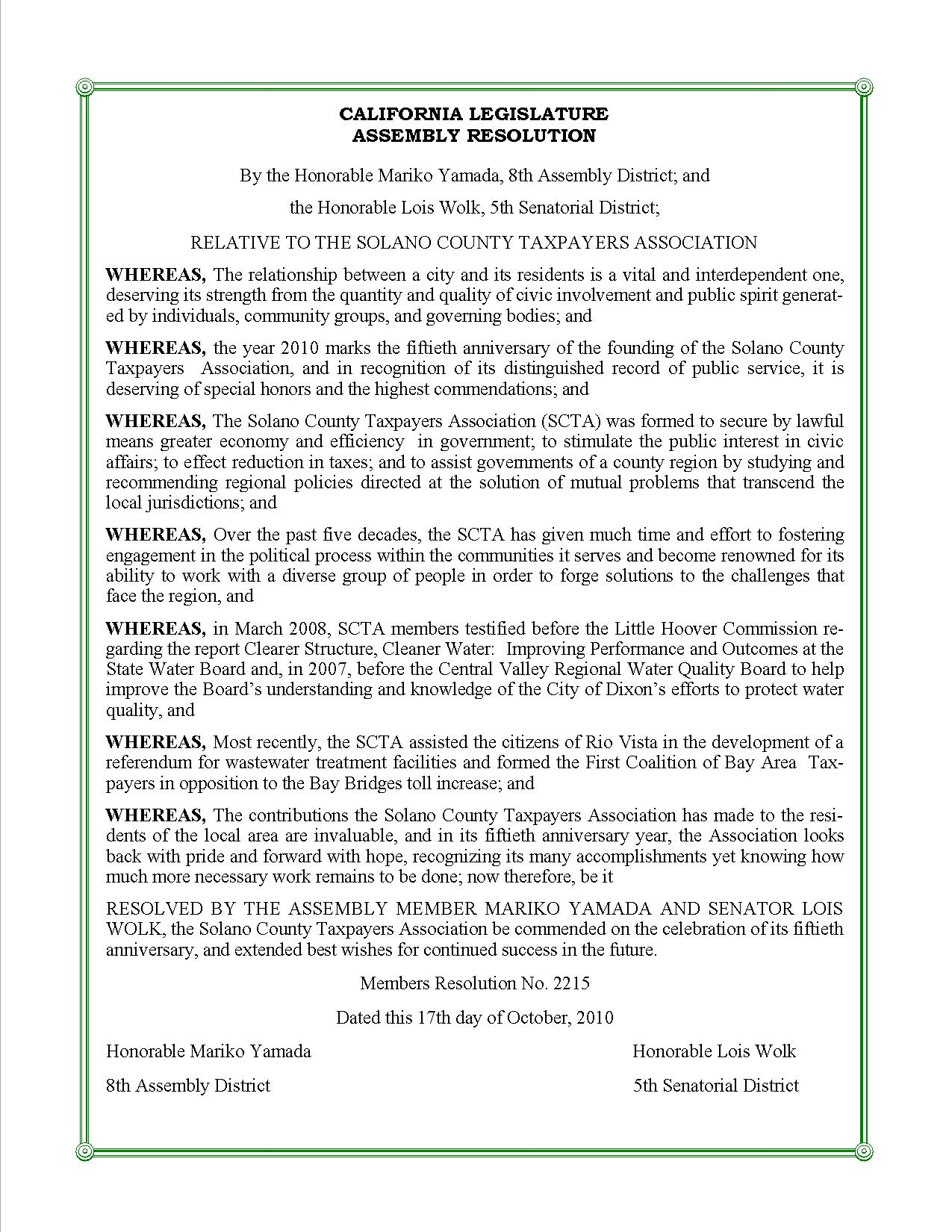 Text of the Resolution